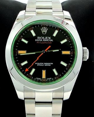 Rolex Milgauss 116400 Green Crystal Black Dial Oyster Papers