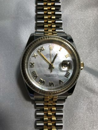 Rolex Datejust Gold & Steel Mother Of Pearl Roman 116233 Jubilee