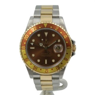 Rolex Gmt Master Ii Two Tone 18k Stainless 16713t 40mm Oyster Root Beer Nr 6361