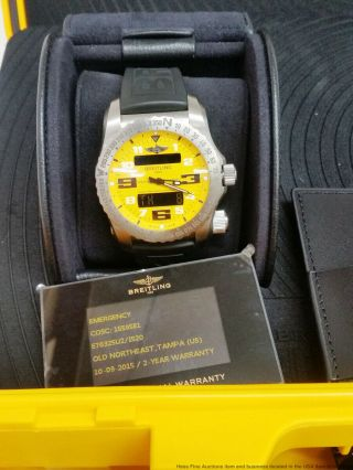 Breitling Emergency E76325u2 Yellow Dial Huge Dual Frequency Watch Box Papers