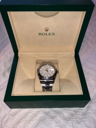 Rolex Stainless Steel Datejust 18kt Gold Bezel White Dial 42mm