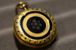 18k Gold,  Enamel,  With Tiny Diamonds.  Rare By B.  Haas Jne.  Pendant Watch
