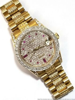 Ladies Rolex Datejust 68278 18k Gold Diamond Ruby Midsize Large Womans Watch