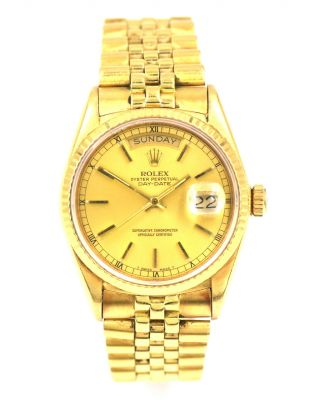 Gents Rolex President Day Date 18038 Wristwatch 18k Yellow Gold Box Papers C1984