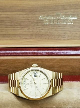 18k Gold Rolex President Day Date 19000 Quickset Watch W Box Oysterquartz