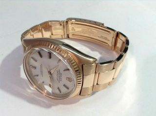 1969 ROLEX 1601 DATEJUST 18K R/Gold w/ Rivet Oyster Band Cal 1570,  PAPERS 7