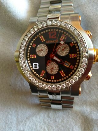 Renato Mens Diamond And Ruby Wrist Watch.  Wild Beast Steel And Mother Of Pearl.