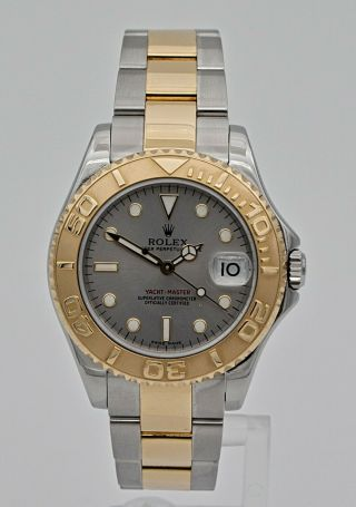 Ladies Large 35mm Rolex Yacht - Master 168623 Slate Dial 18k Gold & Steel Watch