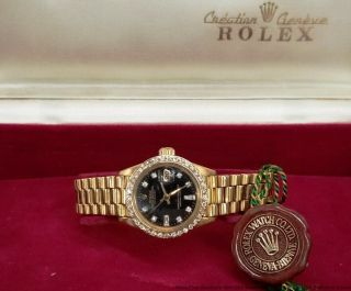 Rolex President Datejust 18k Gold 6917 Diamond Bezel Dial Box Papers Tags