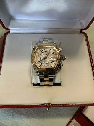 Cartier Roadster Chronograph Xl 18k Gold And Stainless Steel 100 Authentic