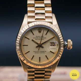 Authentic Rare Rolex Datejust Ref 6917 18k Solid Gold,  Rl_888985