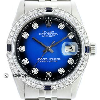 Rolex Mens Datejust 18k White Gold & Stainless Steel Blue Vignette Diamond Watch