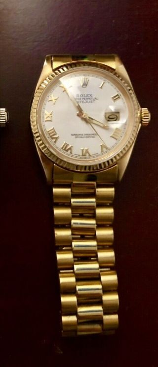 Rolex Datejust Mens 18k Yellow Gold,  White Dial Watch President 1601 Vintage