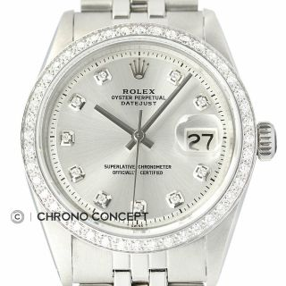 Rolex Mens Datejust 18k White Gold Diamond Bezel Watch & Rolex Jubilee Band