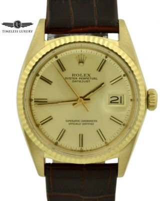 Vintage 1968 Rolex 1601 Datejust 18k Gold 36mm Champagne Pie Pan Dial 16018