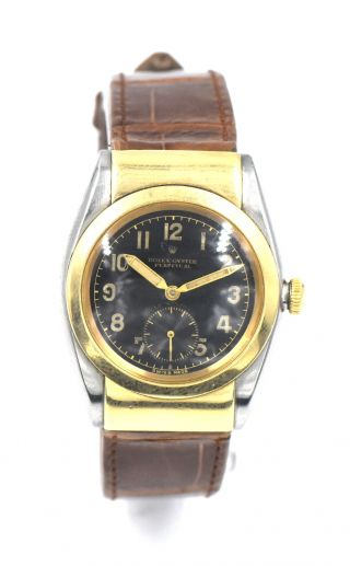 Rare Rolex Bubbleback Rigid Hooded Lugs 3064 Wristwatch Stainless Gold C1940