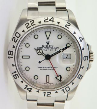 Auth 2000 Rolex Explorer Ii Polar Steel Men's Wrist Watch P Serial 16570