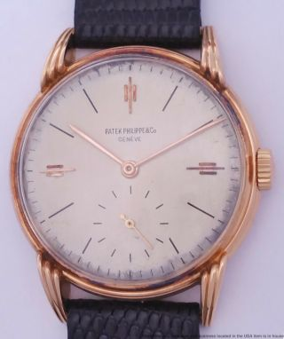 Scarce Art Deco 35mm Patek Philippe 18k Rose Gold Ref 2405 Watch For Big Man