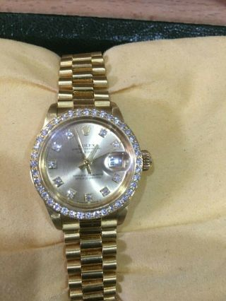 Ladies Rolex President Datejust 18ct Gold And Diamond Certified