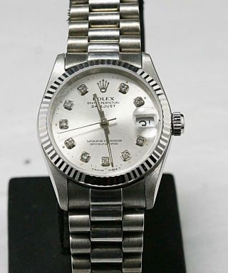 Custom Made After Market Solid White Gold Datejust 68279 Quick Set President.