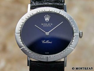 Rolex Cellini 18k White Gold Swiss 1974 Mid Size 33mm Men Vintage Watch O65
