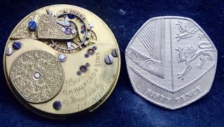 Freesprung R.  H.  Halford & Sons Small Hunter Pocket Watch Movement 32.  72mm