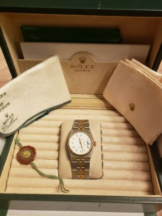 Vintage Men ' s 1976 Rolex Oysterquartz DateJust Two - Tone,  Unpolished,  Box & Books 2