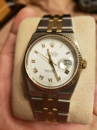 Vintage Men ' s 1976 Rolex Oysterquartz DateJust Two - Tone,  Unpolished,  Box & Books 3