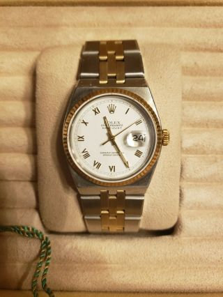 Vintage Men ' s 1976 Rolex Oysterquartz DateJust Two - Tone,  Unpolished,  Box & Books 4