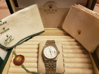 Vintage Men ' s 1976 Rolex Oysterquartz DateJust Two - Tone,  Unpolished,  Box & Books 6