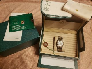 Vintage Men ' s 1976 Rolex Oysterquartz DateJust Two - Tone,  Unpolished,  Box & Books 8