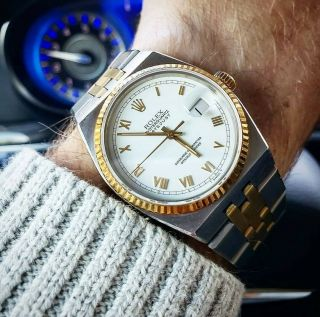 Vintage Men ' s 1976 Rolex Oysterquartz DateJust Two - Tone,  Unpolished,  Box & Books 9
