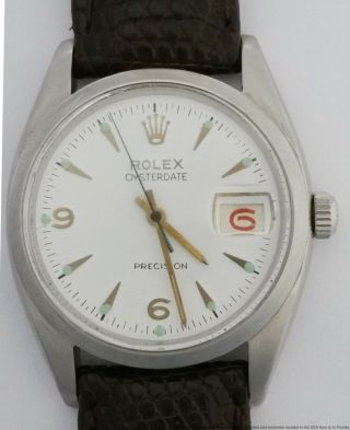 Rolex 6494 Oysterdate Red Roulette Date Mens Vintage Watch