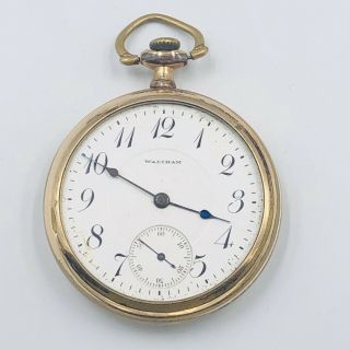 Antique 1915 Waltham Pocket Watch 17 Jewel Size 16s Gold Filled Open Face
