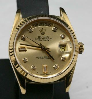 Style Of Rolex 118238,  Custom Made After Market 18k Solid Yellow Gold Day - Date