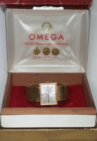 Cool Art Deco Geometric Lines 18k Gold Mens Omega Dress Watch Cal 620 W Box