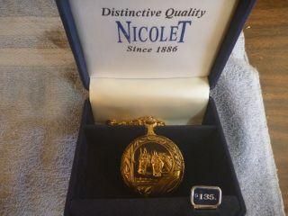 Vintage Nicolet Horse Swiss Covered Pocket Watch Gold Tone With Chain Quartz