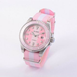 Unisex 40mm Bliger Pink & White Dial Ceramic Bezel Automatic Watch Ba4006swp