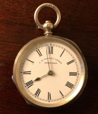Antique J.  B.  Yabsley London Swiss Pocket Watch With.  935 Silver Case, .