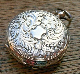 Antique Victorian 935 Silver 39mm Fob Watch - Ticking