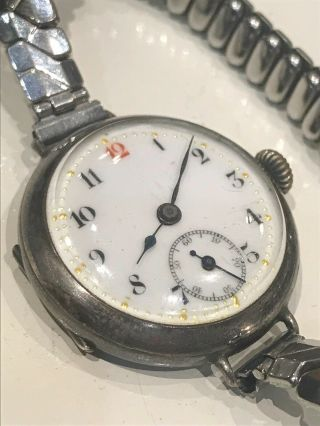 Vintage Antique 1913 Ww1 Silver Trench Military Style Watch 925 Joblot