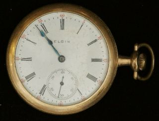 1906 Elgin Pocketwatch Grade 339 Model 6 16s 17j Open Face For Parts/as - Is B1227