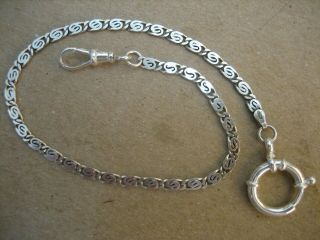 Vintage Unique S/silver Pocket Watch Chain 12 In.  Long