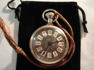 Vintage 16s Pocket Watch Indian Motorcycle Theme Case & Fancy Dial Runs.