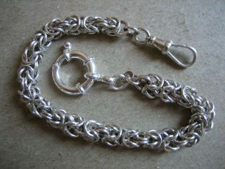 Vintage Unique Byzantine S/silver Pocket Watch Chain 8.  1/2.  In.  Long