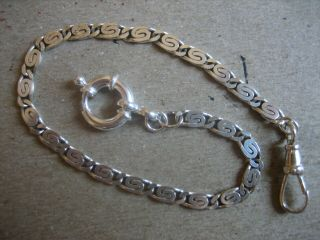 Vintage Unique S/silver Pocket Watch Chain 9.  3/4 In.  Long