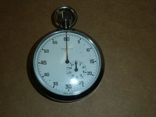 Vintage Pocket Watch By Brenet No.  5 Swiss Made Hand Wind Mechanical Stopwatch
