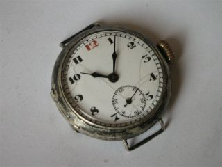 Antique Ww1 Large Silvertrench Wrist Watch.  1915.