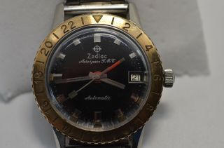 Vintage Zodiac Aerospace Gmt,  Great Black Dial,  Sought After Gold Bezel