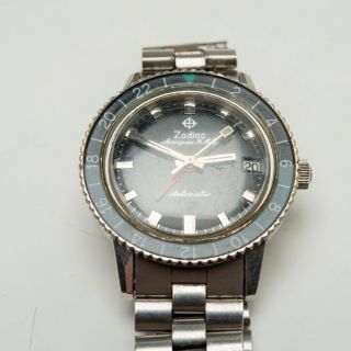 Vintage 1969 ZODIAC Aerospace GMT Watch Black Gray Bezel Automatic Space Craft 11